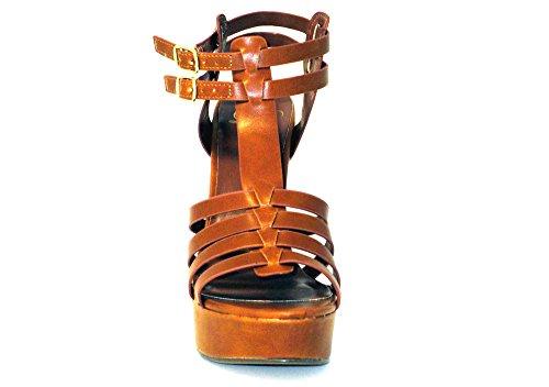 Utsökta Kvinnor Nora2 Tan Läder Hög Klack Sandal Tan