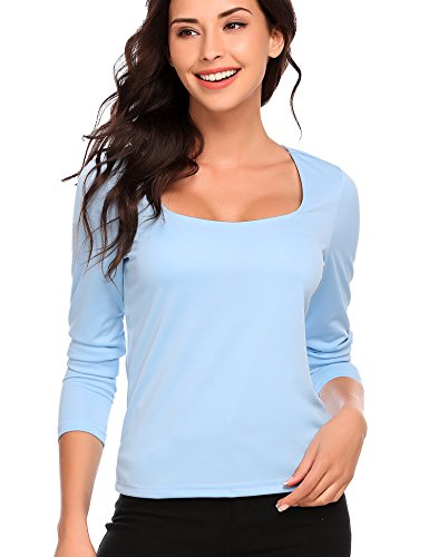 Women Casual Square Collar Long Sleeve Solid Slim Pullover Sexy Blouse T-Shirt Tops (Squares Pullover)