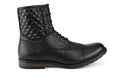 Bonafini Man D-709 Svarta Spetsad Och Sido Dragkedja Vadderad Konstruktion Bekämpa Boots