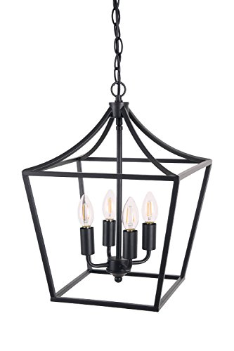 rden 4-Light Chandelier, Industrial Style Lighting for Entryway,Hallway and Dining Room - Matte Black Finish ()