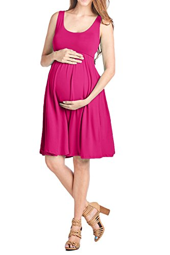 (Beachcoco Women's Maternity Knee Length Tank Dress (M, Fuchsia))