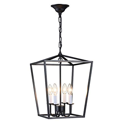 - ANJIADENGSHI Lantern Pendant Light Industrial Vintage Lantern Iron Cage Hanging with 4 E12 Bulbs Lantern Chandelier for Traditional Dining Room Bar Cafe, Matte Black