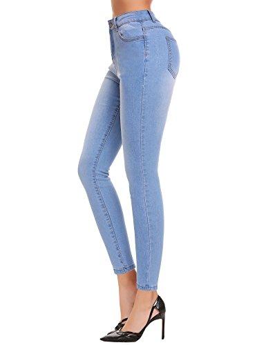 avec Clair Jean Femme lastiques Slim Bleu Collant Lomon Skinny Leggings Pants Casual Crayon Pantalons Denim zAEUq6URc