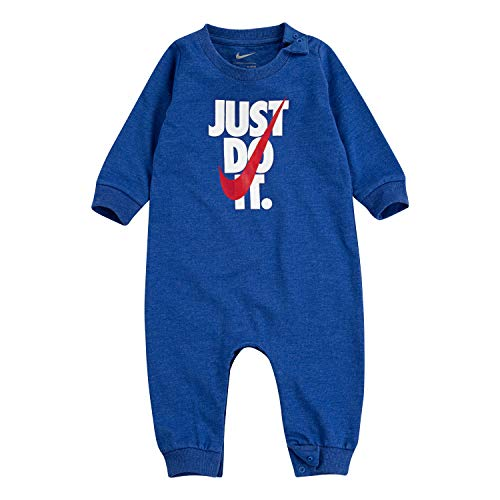 NIKE Children's Apparel Baby Graphic Coverall, Game Royal Heather/Red, 0/3M