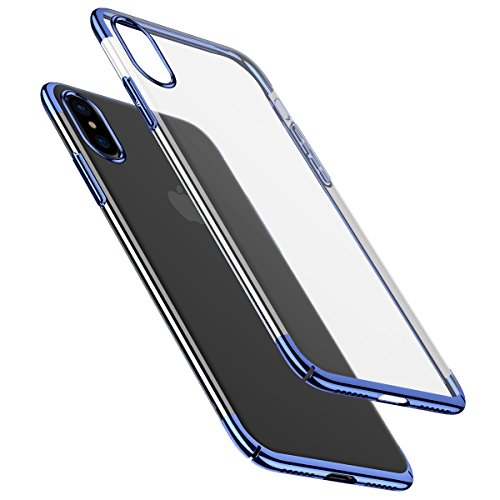 iPhone X Case Clear,Baseus Luxury Plating Glitter Case Compatible iPhone X Ultra Thin Electroplating Hard PC Back Cover Compatible Apple iPhone 10 Case Cover(Blue)