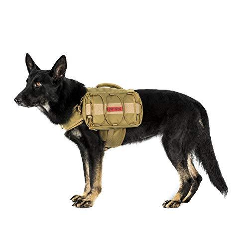 OneTigris Dog Pack Hound Travel Camping Hiking Backpack Saddle Bag Rucksack for Medium amp Large Dog Coyote Brown Advanced Version  1000D Nylon