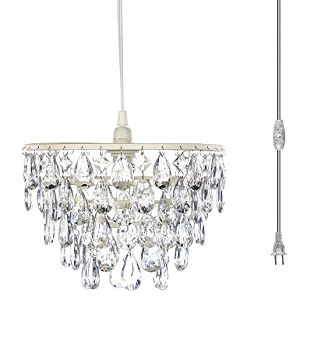 The Original Gypsy Color One Light Dome Chandelier Plug-in Pendant or Hanging Lamp with Five Tiers of Crystals H10W11.5, White Metal Frame with Clear Poly-Carbonate Crystals