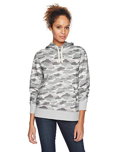 Amazon Essentials Women's French Terry Fleece Pullover Hoodie Sweater, -grey camo, Small