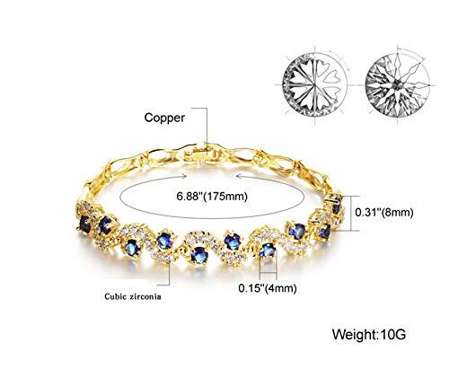 Women Bracelets 18K Gold Plated Birthstone Crystal Elegant Multi-Gemstone and Diamond Cubic Zirconia Tennis Bracelet for Women Girls Ladies (Style #3)
