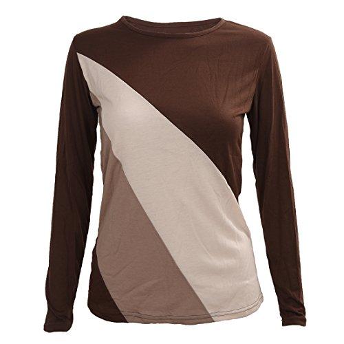 TOOGOO (R) Mujeres camiseta Cuello redondo de manga larga Basa la Blusa Casual Tops Cafe XL