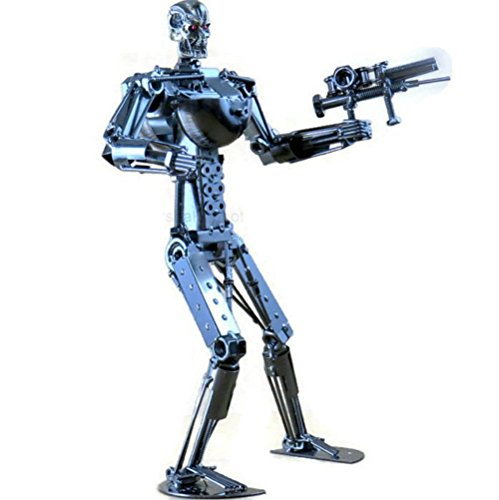 Terminator Collectible - Terminator Robot Collectible Figure - Handcrafted Large 16.0 Inch Terminator Endoskeleton Skull Metal Sculpture