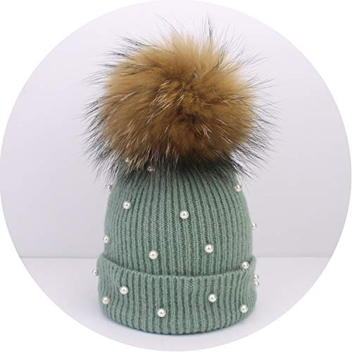 Wool Beanies Women Real Natural Pom Poms Pearl Knitted Hat Girls Beanie Cap,L