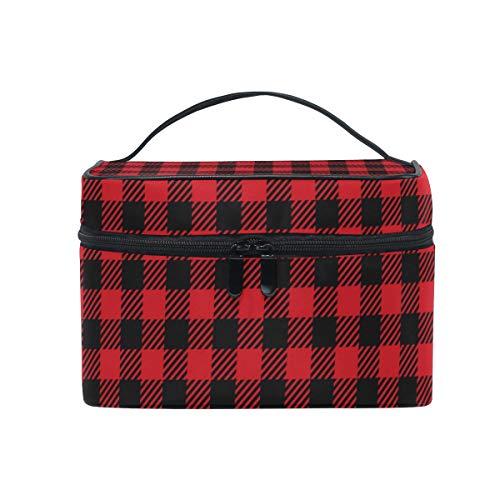 Makeup Cosmetic Bag Red Black Buffalo Plaid Seamless Portable Travel Train Case Toiletry Bags Organizer Multifunction Storage