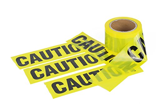 TopGreen Barrier CAUTION Tape 3 inch 300 Feet 2 Mil Yellow/Black Print Non-Adhesive