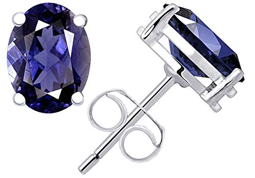 0.6 Ctw Iolite Stud Earrings For Women By Orchid Jewelry : Hypoallergenic Sterling Silver Earrings Studs, Dangling Earrings For Sensitive Ears, Nickel Free Blue Earrings ()