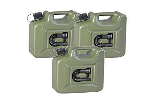 3er Set: 3x Benzinkanister PROFI 10 Liter oliv (grün) ARMY Kraftstoffkanister 10L Hergestellt für BAUPROFI