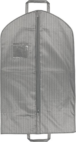 Grey Suit Garment Travel Bags With ID Tag Window - Durable Heavy Duty Lightweight Material - Prevents Wrinkles, Creases and Damage - 40' X 24' - Pinstripe Collection By Your Bags