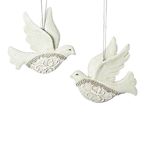 Filigree Ivory Lace Dove 4 x 3 Inch Resin Hanging Christmas Ornaments Set of 2
