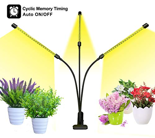 Bseah Grow Light, Plant Lights for Indoor Plants, Auto ON&Off Full Spectrum Plant Lights with 3/9/12H Timer, 8 Dimmable Lightness Clip-On Desk Led Plant Growing Lamps (with AC Adapter)