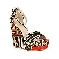 Alrisco Women Ankle Strap Printed Open Toe Platform Wedge Sandal RF71 - Leopard Multi Fabric (Size: 8.0)