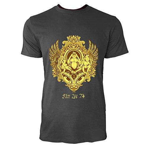SINUS ART® Drei Affen: Nichts sehen, nichts hören, nichts sagen Herren T-Shirts in Smoke Fun Shirt mit tollen Aufdruck