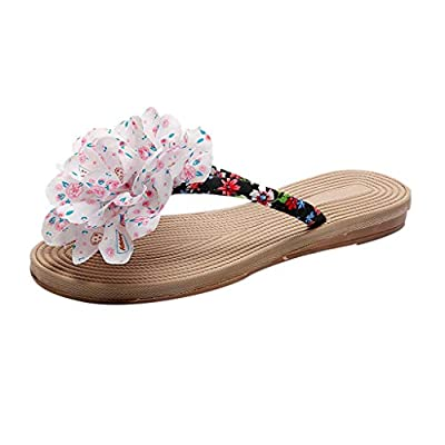 RAINED-Women's Flip Flops Summer Bohemian Flats Sandals Ethnic Style Thong Sandals Beach Walking Clip-Toe Slippers