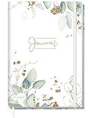 Trendstuff by Häfft Bullet Journal gestippelde A5 met elastiek [bladgoud] 156 pagina's | notitieboek gestippeld, dagboek van Häfft | duurzaam & klimaatneutraal