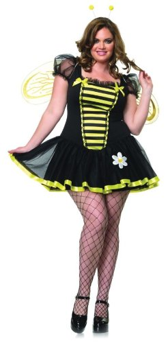 Adult Bumblebee Gloves (GTH Women's Daisy Bumble Bee Outfit Fancy Dress Sexy Costume, 2XL (16-18))