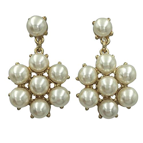Imitation Pearl Cluster Flower Simple Post Stud Drop Dangle Earrings (Ivory Cream Gold Tone)