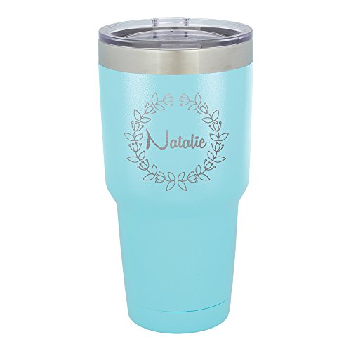Froolu Stainless Steel Coffee Travel Mug - Teal Personalized Laser Engraved Tumbler - Hydro Travel Cup -