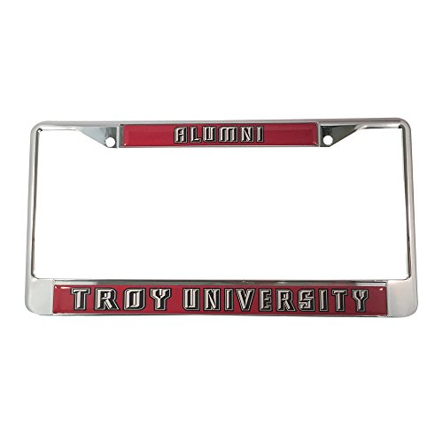 Troy University License Plate Frame/Tag For Front Back of Car Officially Licensed (Alumni - Metal Frame) (Greek Frame License Plate)