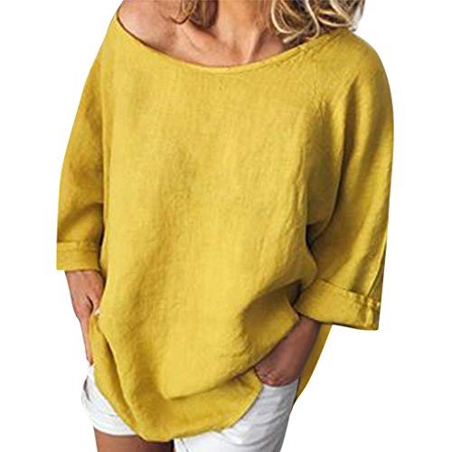 Summer Tops for Women 2019 Linen Shirts for Women Casual O-Neck 3/4 Sleeve Solid Linen T-Shirt Loose Pullover Blouse Top