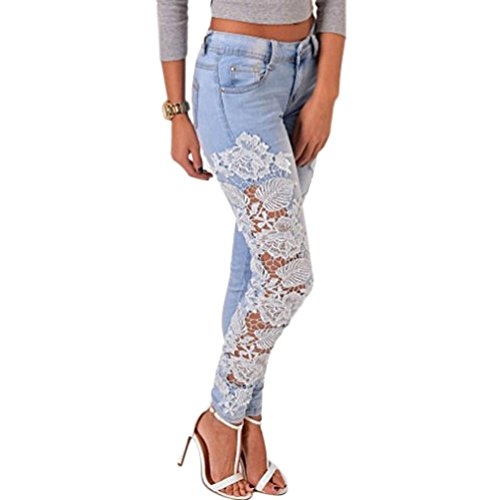 Ecurson Long Lace Floral Skinny Spliced Hollow out Hole Straight Denim Jeans (M)