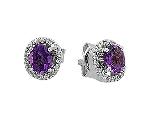 Boucles d'Oreilles Améthyste Ovale et Diamants-Femme- or Blanc 205E0014-