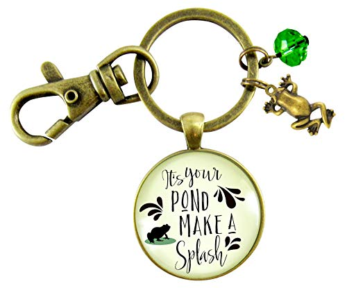 Frog Keychain It's Your Pond Make A Splash Success Life Quote Pendant Charm Jewelry For Women Girl]()