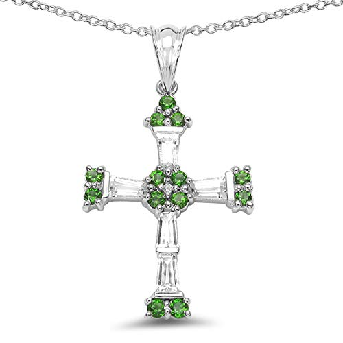 - Bonyak Jewelry Genuine Round Chrome Diopside and White Topaz Pendant in Sterling Silver