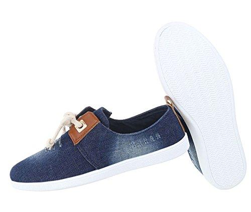 Schuhcity24 Schuhe Sneakers Schnürung Sneaker Turnschuhe Keilabsatz Denim Jeans Flach Schnürer Plateau Dunkelblau Plateauschuhe P1fYIxn