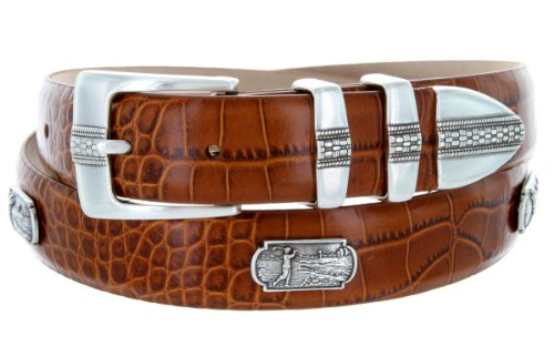 (Scottsdale Golf - Men's Italian Calfskin Designer Dress Belt with Golf Conchos (36 Alligator Tan))