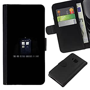 KLONGSHOP // Tirón de la caja Cartera de cuero con ranuras para tarjetas - Caja de Policía - Viaje espacial - HTC One M9 //