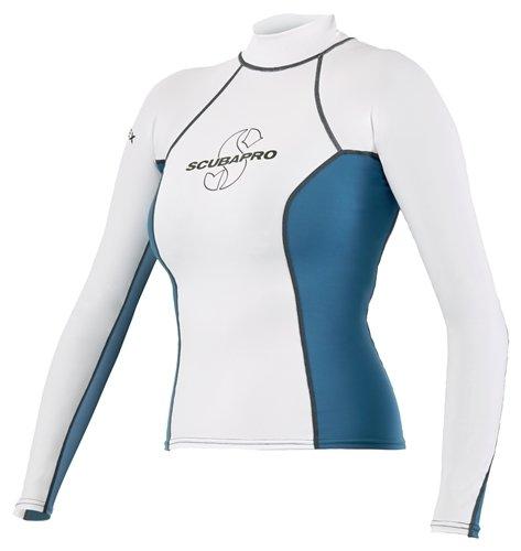 ScubaPro T-Flex Women's Long Sleve Rash Guard (Medium, White / Blue) -  63.188.300