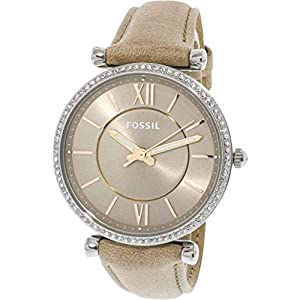 Fossil Women's Carlie Stainless Steel Quartz Watch with Leather Calfskin Strap, Silver, 16 (Model: ES4343)
