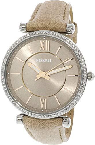 Fossil Women's Carlie Stainless Steel Quartz Watch with Leather Calfskin...
