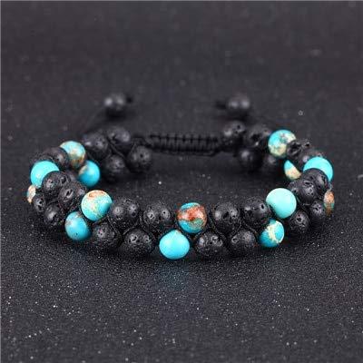 Amazon.com: Bracelet Men Beads Lava Stone Handmade Charm ...