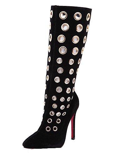 Eu39 De Black Tacones Zapatos Botas 5 Cn40 Xzz Black us8 Mujer Uk6 Negro Vellón Puntiagudos Tacón 5 Vestido Stiletto Cn39 us8 Uk6 qXpP5w6P