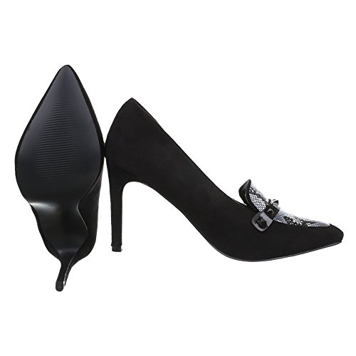 Ital-Design - Zapatos de vestir de Material Sintético para mujer Schwarz Grau EL15597-3