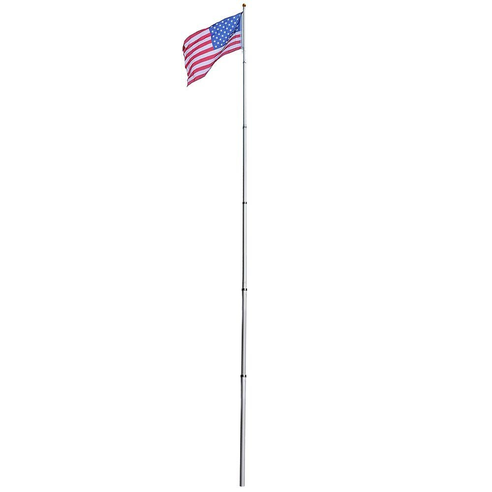 6-section 30 ft Aluminum Rustproof Telescopic Flag Pole Kit comes with Tire Mount Wheel Stand + US Flag & Gold Ball Finial by Generic (Image #3)