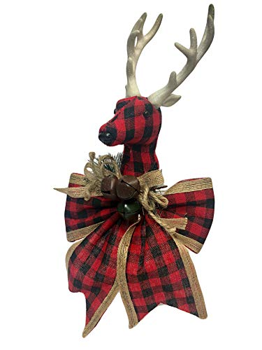 Burlap and Plaid Country Non-Lit Christmas Tree Topper Ornament with Bow for Holiday Winter Wonderland Decor (Buffalo Plaid Reindeer)