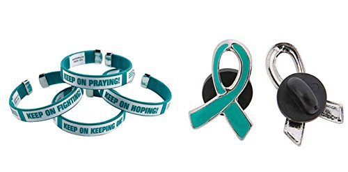 Teal Ribbon Pin - 1 Teal Ribbon Cuff Bracelet And 1 Teal Enamel Awareness Pin, Support Ovarian cancer, cervical cancer, uterine cancer, Anxiety disorders
