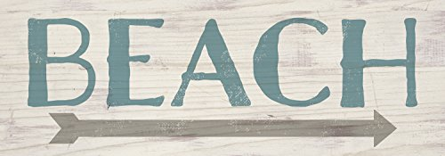 Beach Blue Gray White Wash 16 x 6 Inch Solid Pine Wood Plank Wall Plaque Sign