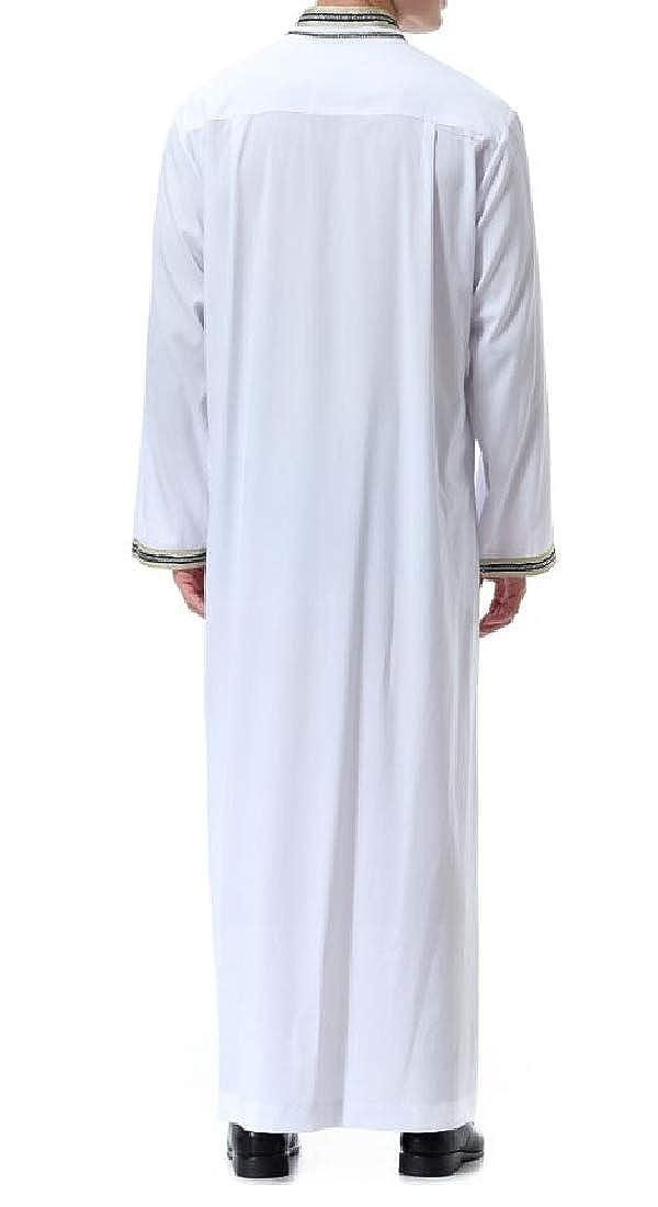 Domple Mens Loose Pockets Long Sleeve Plus Size Mandarin Collar Muslim Robes Shirt Top